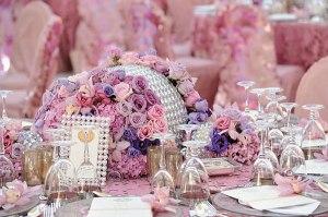 Preston Bailey - Pink and Lavender centrepiece with rhinestones